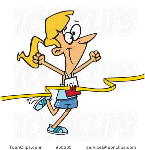 Cartoon Outlined Female 10k Runner Crossing the Finish Line