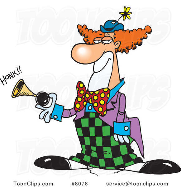 Cartoon Party Clown Honking a Horn