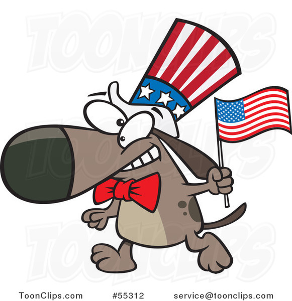 Cartoon Patriotic American Dog with a Flag