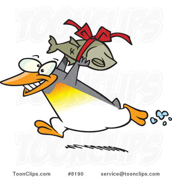 Cartoon Penguin Carrying a Fish Gift