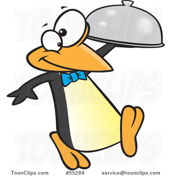 Cartoon Penguin Waiter with a Cloche Platter