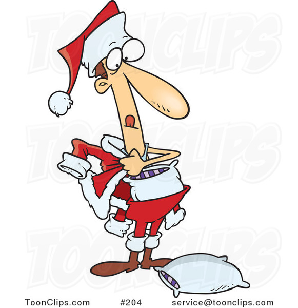 Cartoon Phony White Guy Stuffing Pillows into a Santa Suit to Try to Fool People into Thinking He's the Real Santa