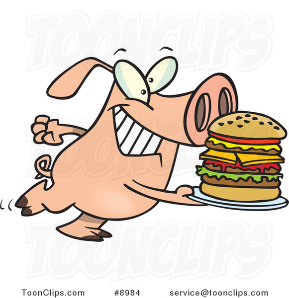 Cartoon Pig Carrying a Big Burger