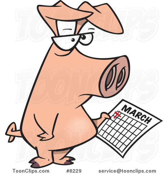 Cartoon Pig Holding a Calendar