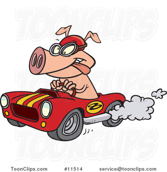 Cartoon Pig Racing a Hot Rod