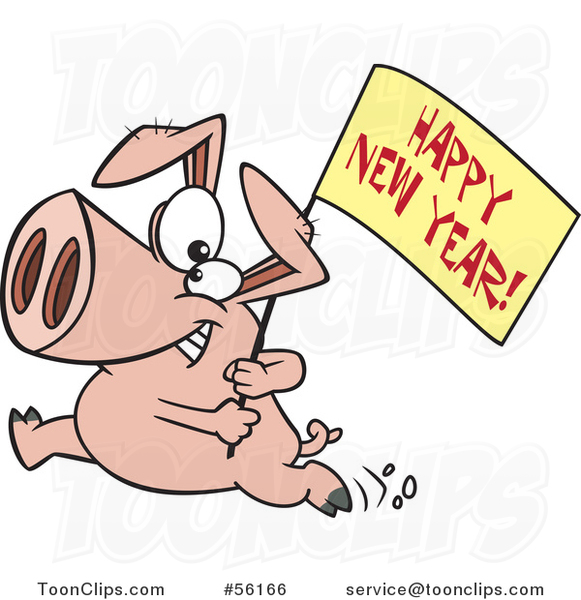 Cartoon Pig Running with a New Year Sign