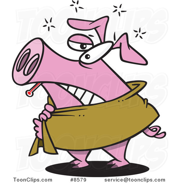 Cartoon Pig Sick with the Swine Flu