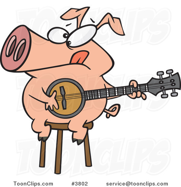 Cartoon Pig Sitting on a Stool and Playing a Banjo