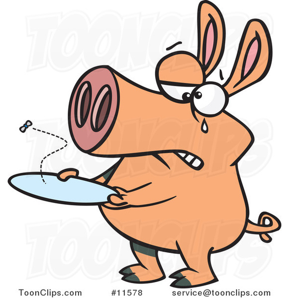 Cartoon Pig with an Empty Plate