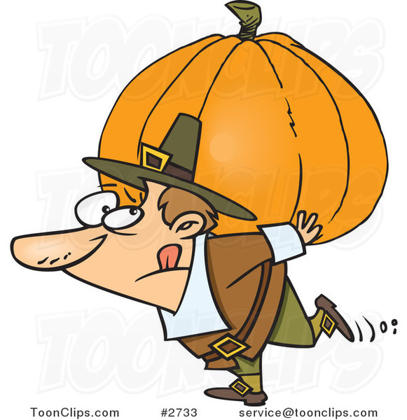 Cartoon Pilgrim Carrying a Heavy Pumpkin