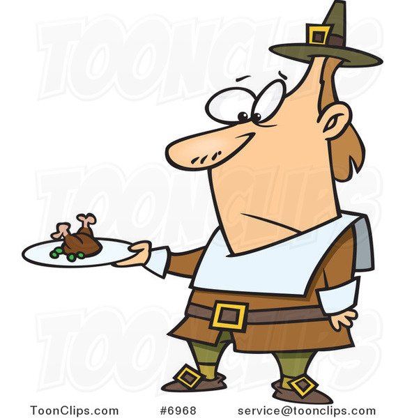 Cartoon Pilgrim Guy Carrying a Meagre Meal