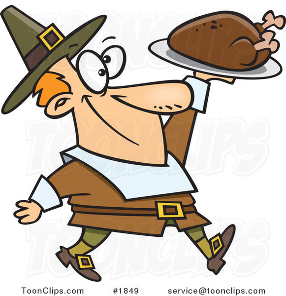 Cartoon Pilgrim Guy Carrying a Roasted Turkey