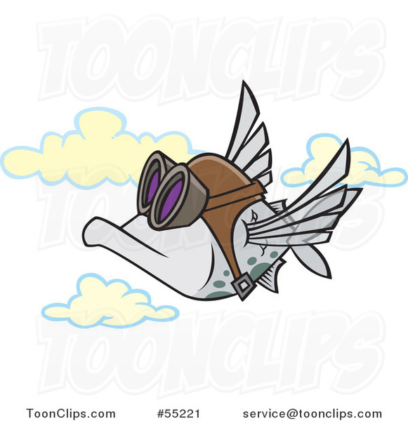 Cartoon Pilot Fish Flying