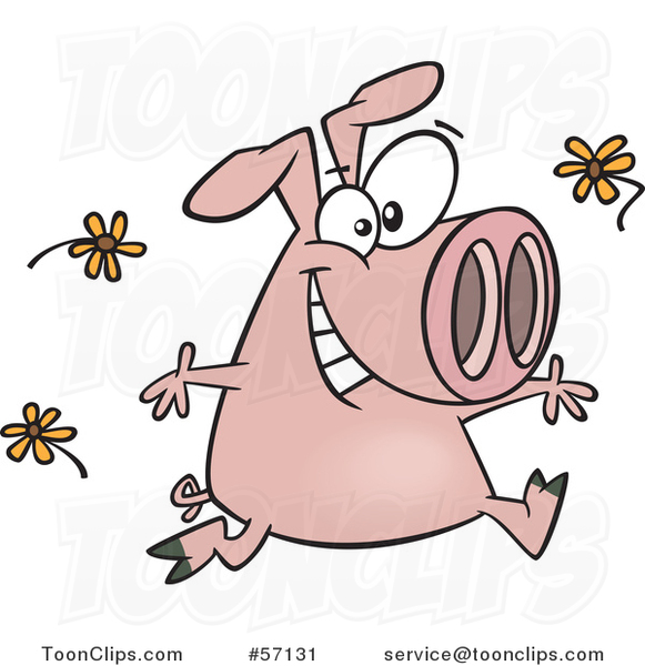 Cartoon Pink Pig Running and Tossing Spring Flowers