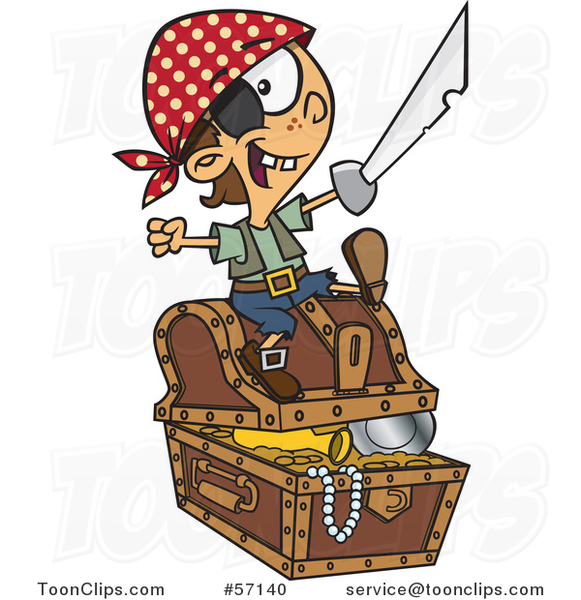 Cartoon Pirate Boy Holding a Sword and Sitting on a Treasure Chest