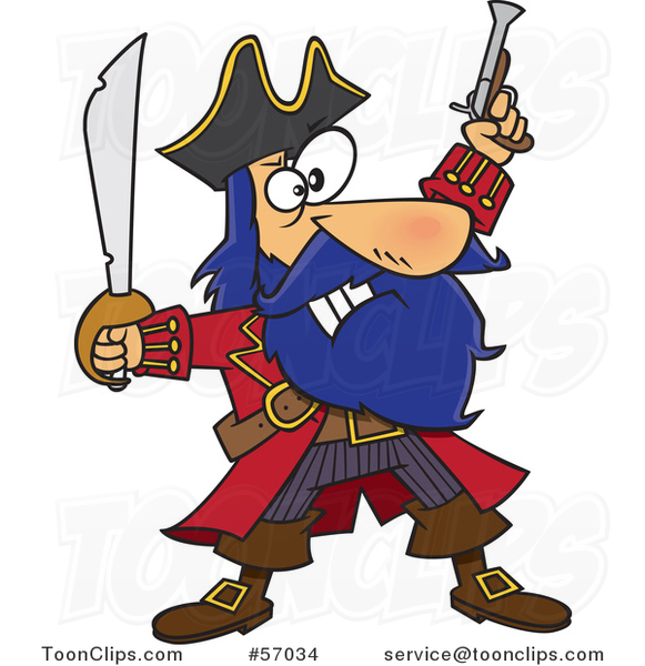 Cartoon Pirate Captain, Bluebeard, Holding up a Sword and Pistol