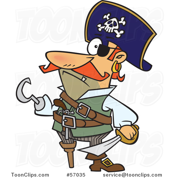 Cartoon Pirate Captain with a Peg Leg and Hook Hand