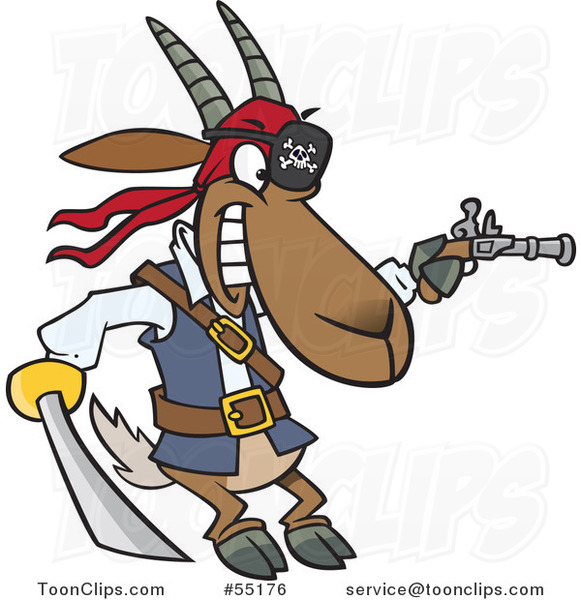 Cartoon Pirate Goat Holding a Sword and Pistol