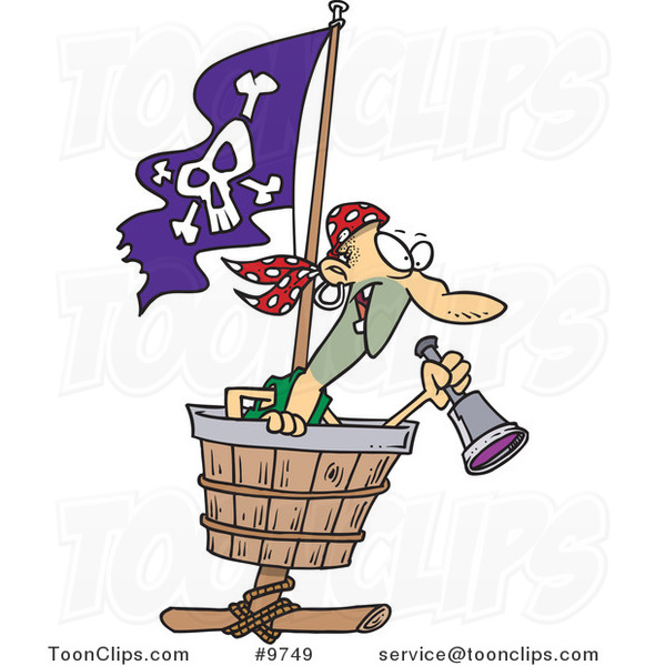 Cartoon Pirate in a Crows Nest