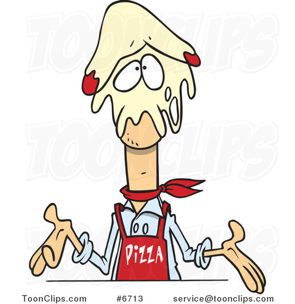 Cartoon Pizza Guy with Dough on His Head