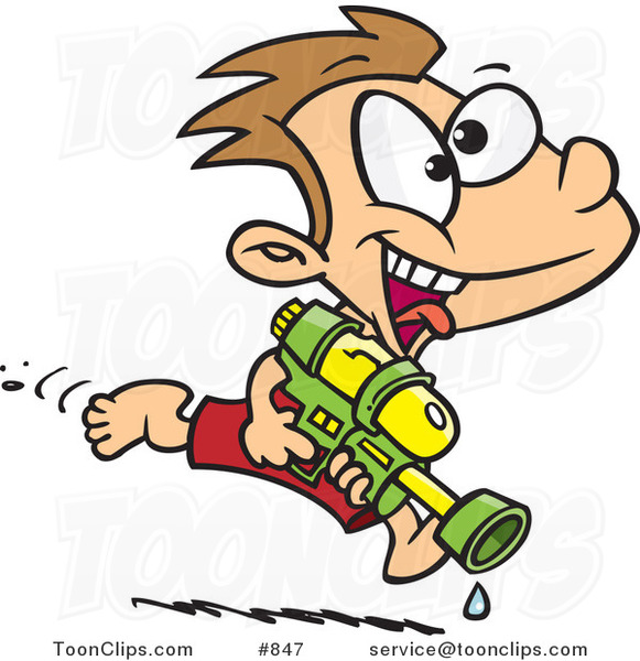 Cartoon Playful Boy Running with a Water Gun