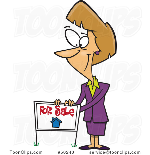 Cartoon Pleasant Blond White Female Realtor Listing a House for Sale with a Sign