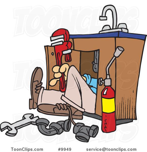 Cartoon Plumber Under A Sink 9949 By Ron Leishman