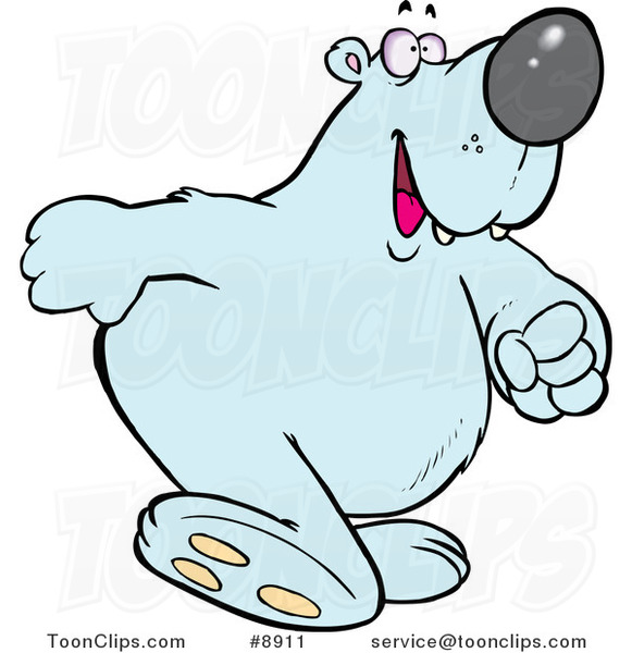 Cartoon Polar Bear Walking Upright