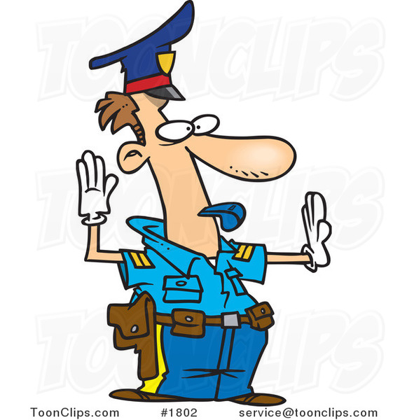 Cartoon Police Officer Controlling Traffic #1802 By Ron