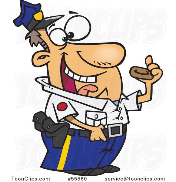 Cartoon Police Officer Eating a Donut