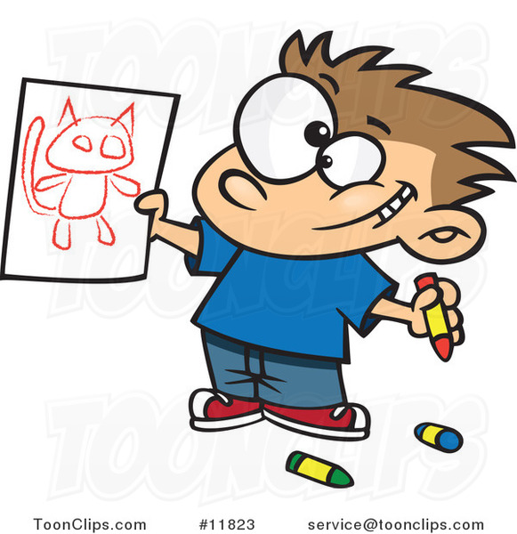 Cartoon Proud Boy Holding His Cat Drawing