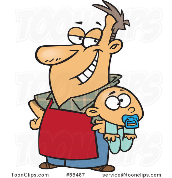 Cartoon Proud Stay at Home Dad Holding a Baby