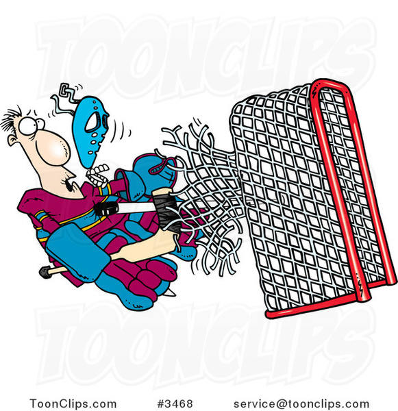 Cartoon Puck Knocking a Goalie Through the Net