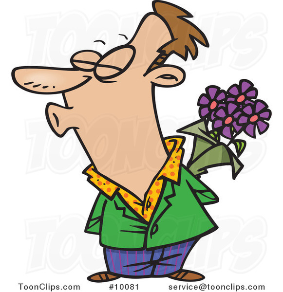 Cartoon Puckering Guy Holding Flowers