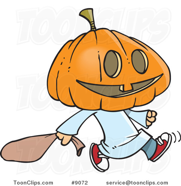 Cartoon Pumpkin Head Trick Or Treater 9072 By Ron Leishman