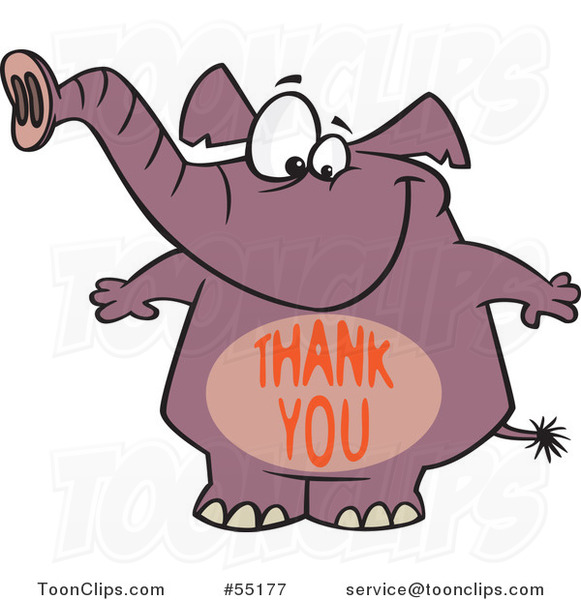 Cartoon Purple Elephant with a Thank You Belly