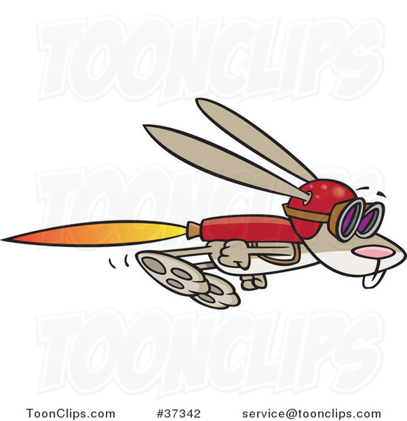 Cartoon Rabbit Flying with a Rocket Jet Pack