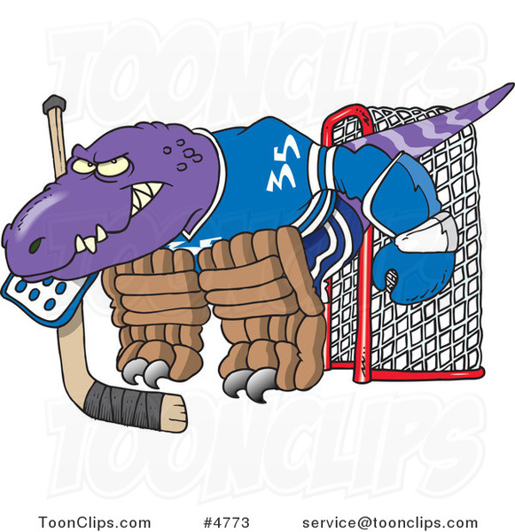 Cartoon Raptor Goalie