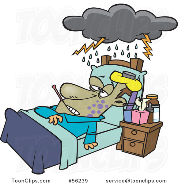 Cartoon Really Sick Guy Resting in Bed, with a Cloud over Him