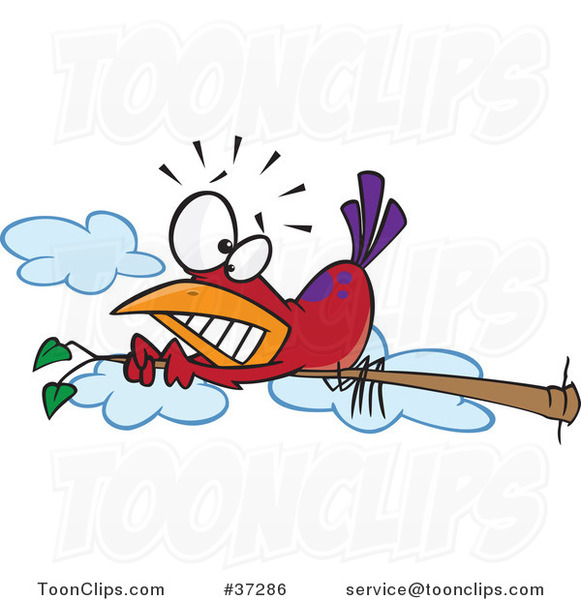 Cartoon Red Bird Scared of Heights Hugging a Tree Branch