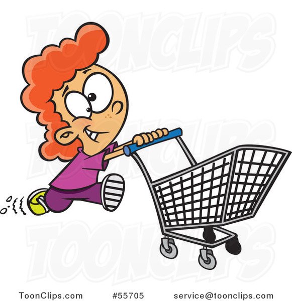 Cartoon Red Haired Fast Girl Running with a Shopping Cart
