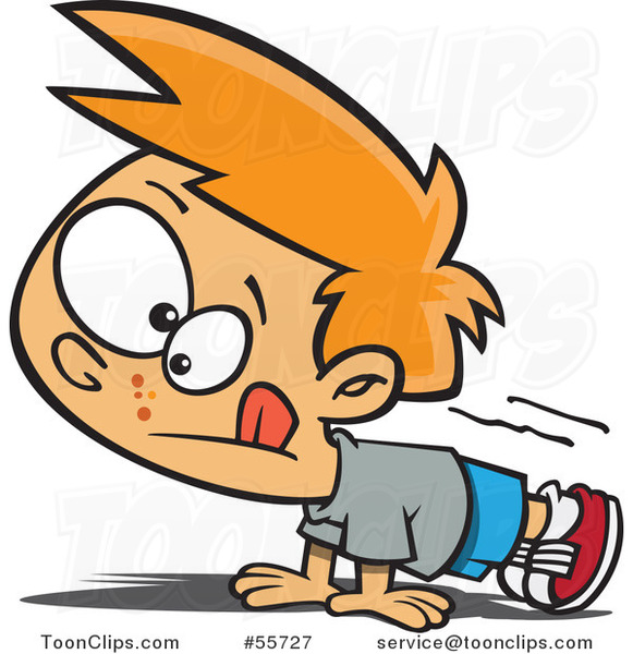 Cartoon Red Haired White Boy Doing Pushups