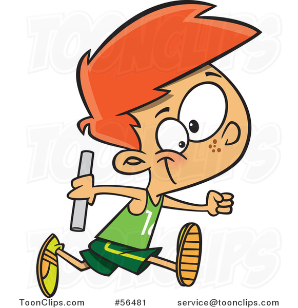Cartoon Red Haired White Boy Holding a Baton and Running a Relay Race