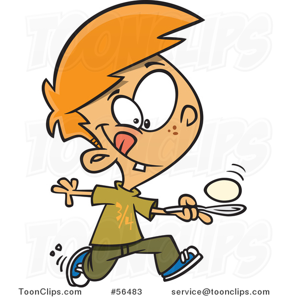 Cartoon Red Haired White Boy Running in an Egg Race