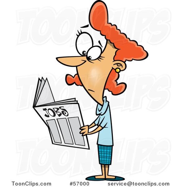 Cartoon Red Haired White Lady Looking for Jobs in the Classifieds