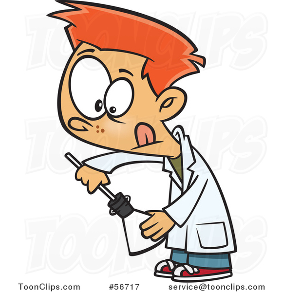 Cartoon Red Haired White School Boy Inserting Something into a Science Laboratory Flask