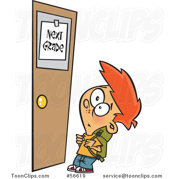 Cartoon Red Haired White School Boy Looking up at a Next Grade Door