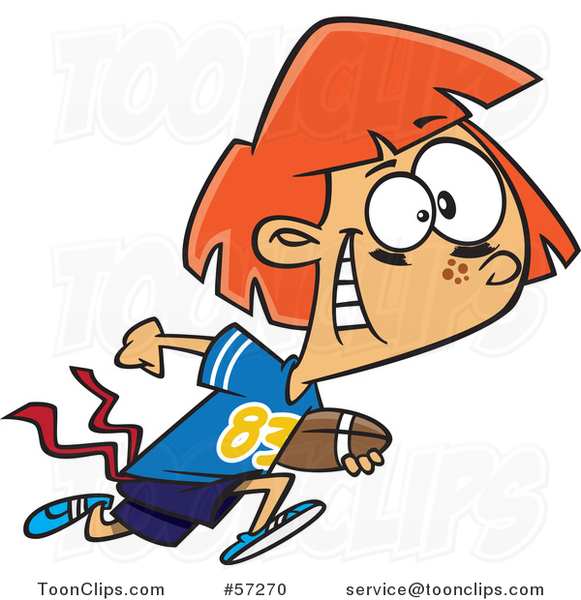 Cartoon Red Haired White Tom Boy Girl Playing Flag Football