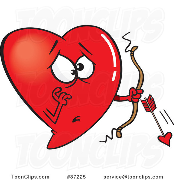 Cartoon Red Heart Cupid with a Broken Arrow