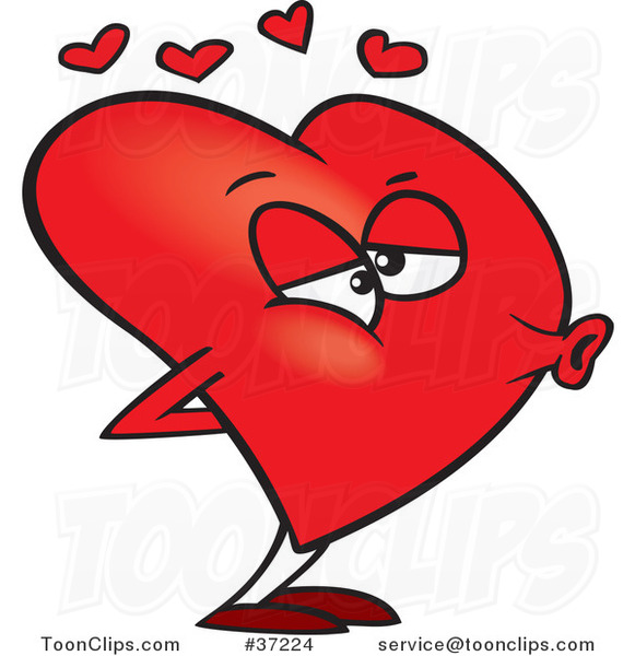 Cartoon Red Heart Puckered for a Kiss